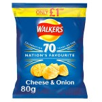 Walkers CHEESE & ONION PMP (LARGE BAG - 80g) (Best Before: 24.11.18) (CLEARANCE)
