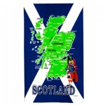 Tea Towel - Map of Scotland - Scottish Map Tea Towel