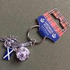Scottish Keyring - Edinburgh Castle, Thistle & Flag Charm (Qty 7)