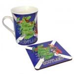 Scottish Flag with Map - Mug and Coaster Set