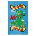 Welsh Cymru Map Tea Towel