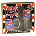 British Pint Glass, Mug & Coaster Set  (Availability 5)